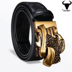 Luxury Mens Belts Ratchet Black Leather Waist Straps Gold Ea