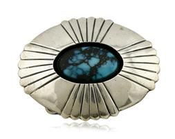 Navajo Belt Buckle .925 Silver Turquoise Signed Artist A C.8