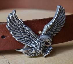 NWOT Tommy Hilfiger Eagle Belt Buckle Brown Leather Belt Pat