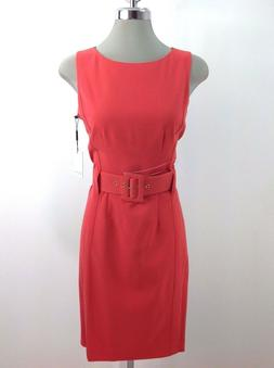Calvin Klein NWT CORAL Dress W Wide Waist Belt Buckle Wear t