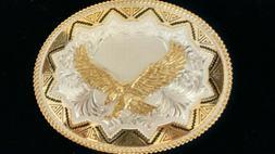 "NWT Montana Silversmiths Eagle Belt Buckle XL LARGE 5""x4"" Si"