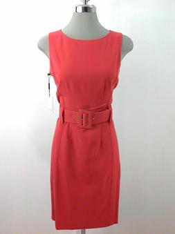 Calvin Klein NWT Elegant RED  Dress  Wide Waist Belt Buckle