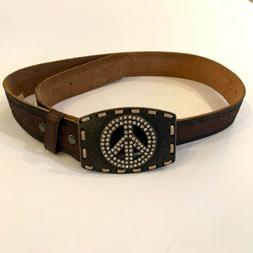 NWT Ariat Western Leather Womens Size 30/75 Belt & Bling Pea