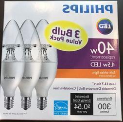 One 3-pack PHILIPS Soft White 4.5W  B11 Candelabra LED Light