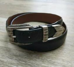 Onyx Brighton Belt Size 36 Black Leather Croco Texture Silve