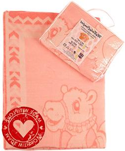 "Organic Cotton Baby Blanket for Girl Pink. 39""x55"". Soft Lar"