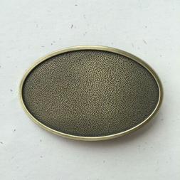 Original Antique Bronze Plated Oval Blank Western Belt Buckl