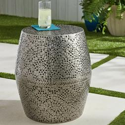 Patio Metal End Table Stool Side Poolside Porch Outdoor Vint