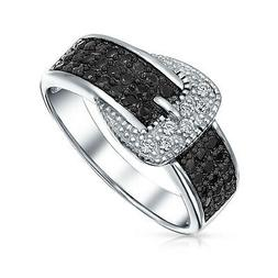 Bling Jewelry Pave CZ Band Black and White Belt Buckle Sterl