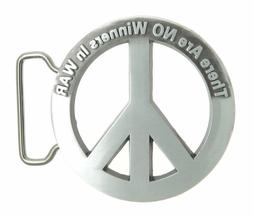 Peace Sign Symbol There Are No Winners In War Metal Belt Buc