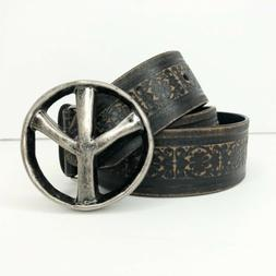 Peace Sign Tooled Distressed Belt Black Brown Unisex ManMade