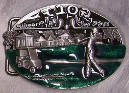 Pewter Belt Buckle Sports I'd Rather be Golfing NEW