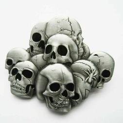 Pile of Skull Heads Metal Belt Buckle