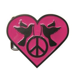 Pink Heart Peace Sign Doves Metal Belt Buckle