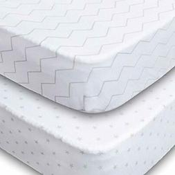 Playard Sheets, 2 Pack Fitted Soft Jersey Cotton Chevron & S