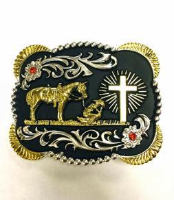 PRAYING COWBOY BELT BUCKLE WESTERN RODEO FASHION HORSE FAITH