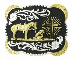 Praying Cowboy w/ Horse Cross Western Metal Belt Buckle