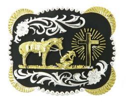 Praying Cowboy w/ Horse Cross Western Metal Belt Buckle