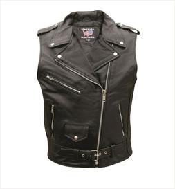 Premium Men's Basic Sleeveless Buffalo Motorcycle Jacket wit