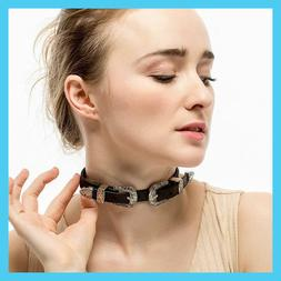 Pu Leather Chain Belt Buckle Charm Collar Choker Necklace Fo