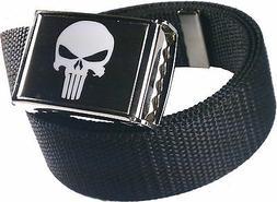 Punisher Black White Belt Buckle Bottle Opener Adjustable We