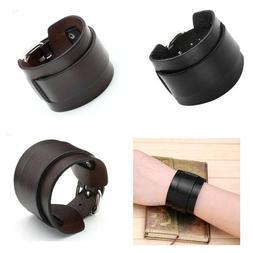 Punk Adjustable Wide Genuine Leather Belt Buckle Bracelet Ba