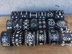 Punk Men Women Wide Genuine Leather Belt Bracelet Cuff Wrist