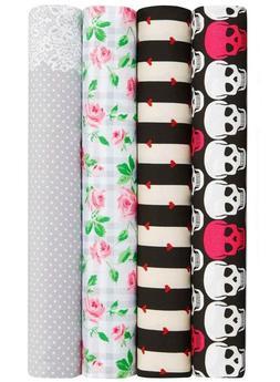 Betsey Johnson Queen Size Sheet Set Pink Skulls Lace Polka D