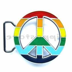 Rainbow Peace Sign Metal Belt Buckle