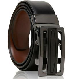 Real Leather Belt Mens Reversible Ratchet Belt With Adjustab