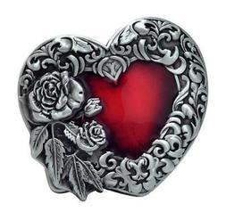 Red Enamel Heart With Silver Rose Unisex Belt Buckle