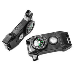 2 Pack Release Compass Whistle Buckle LED Light SOS Flash Fl