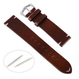 Replacement Discolor Calf Leather Wrist Watch Band Strap Ste