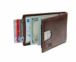 RFID Blocking Bifold Slim Wallet Leather Front ID Pocket Men