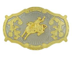 Rodeo Bull Rider Western Style Gold Color Oversize Belt Buck