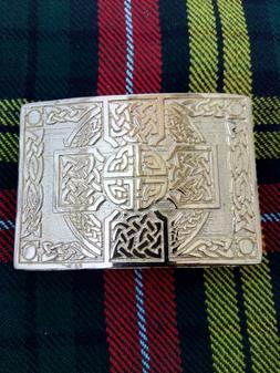 Scottish Highland Celtic Cross Kilt Belt Buckle Gold Plated