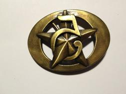 "Seagrams Belt Buckle 5 Star Metal Bronze Color  ""FREE SHIPPI"