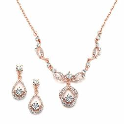 Jewelry Sets Mariell Rose Gold Vintage Crystal Necklace And