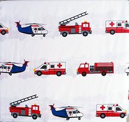 Boy Zone 4 Piece Full Size Sheet Set Emergency Responder Veh