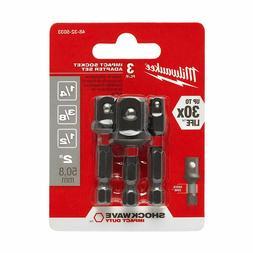 """Milwaukee 2pk SHOCKWAVE 1/4"""" Hex Socket Adapters 1/4, 3/8, 1"""