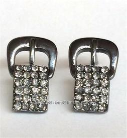 Silver Belt Buckle Earrings Plated Crystal Country Western C