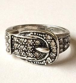 Silver Belt Buckle Ring Country Western Cowgirl Size 6 7 8 9