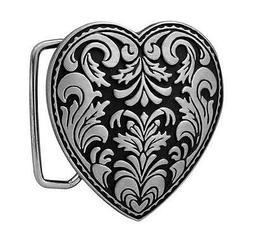 Silver Heart 3-D Belt Buckle on Black Enamel Western Cowgirl
