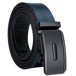 Size 26 to 48 Blue Real Leather Men's Belts Automatic Buckle