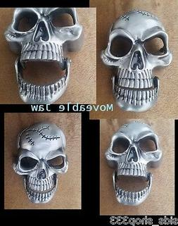 """♈ SKULL Movable Jaw!  ♈ Antique Silver Color  3.5""""-4""""x 2"""