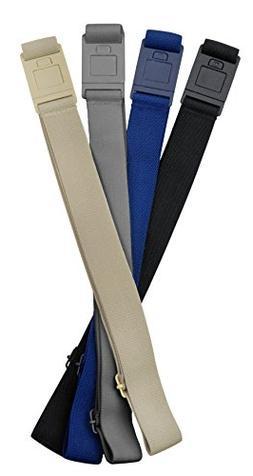 Beltaway SQUARE BUCKLE Belt 4 PACK:BLACK, GRAY, DENIM & SAND