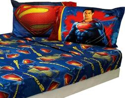 SUPERMAN BED SHEETS - DC Comics Super Steel Blue Superhero B