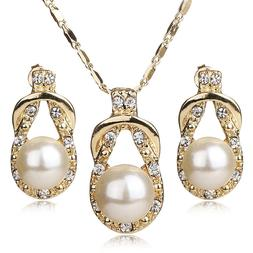 Teardrop Style Gold Plated Faux Pearl Necklace & Earring Jew