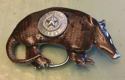 TEXAS SEAL ON ARMADILLO BELT BUCKLE NEW APPROXIMATELY 3 1/4""