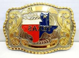 TEXAS STATE BELT BUCKLE MAP FLAG WESTERN COWBOY RODEO HEAVY